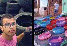 amarildo silva artiste brésilien pneus lits chats chiens errants