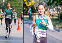 Khemjira femme termine marathon transportant chiot errant