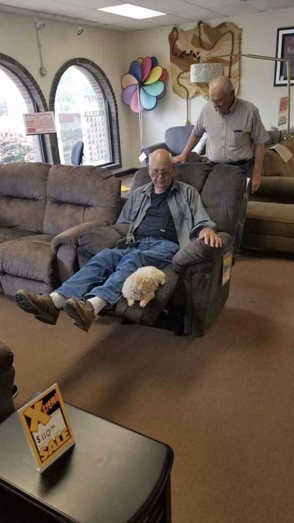 coco Grand père chiot fauteuil